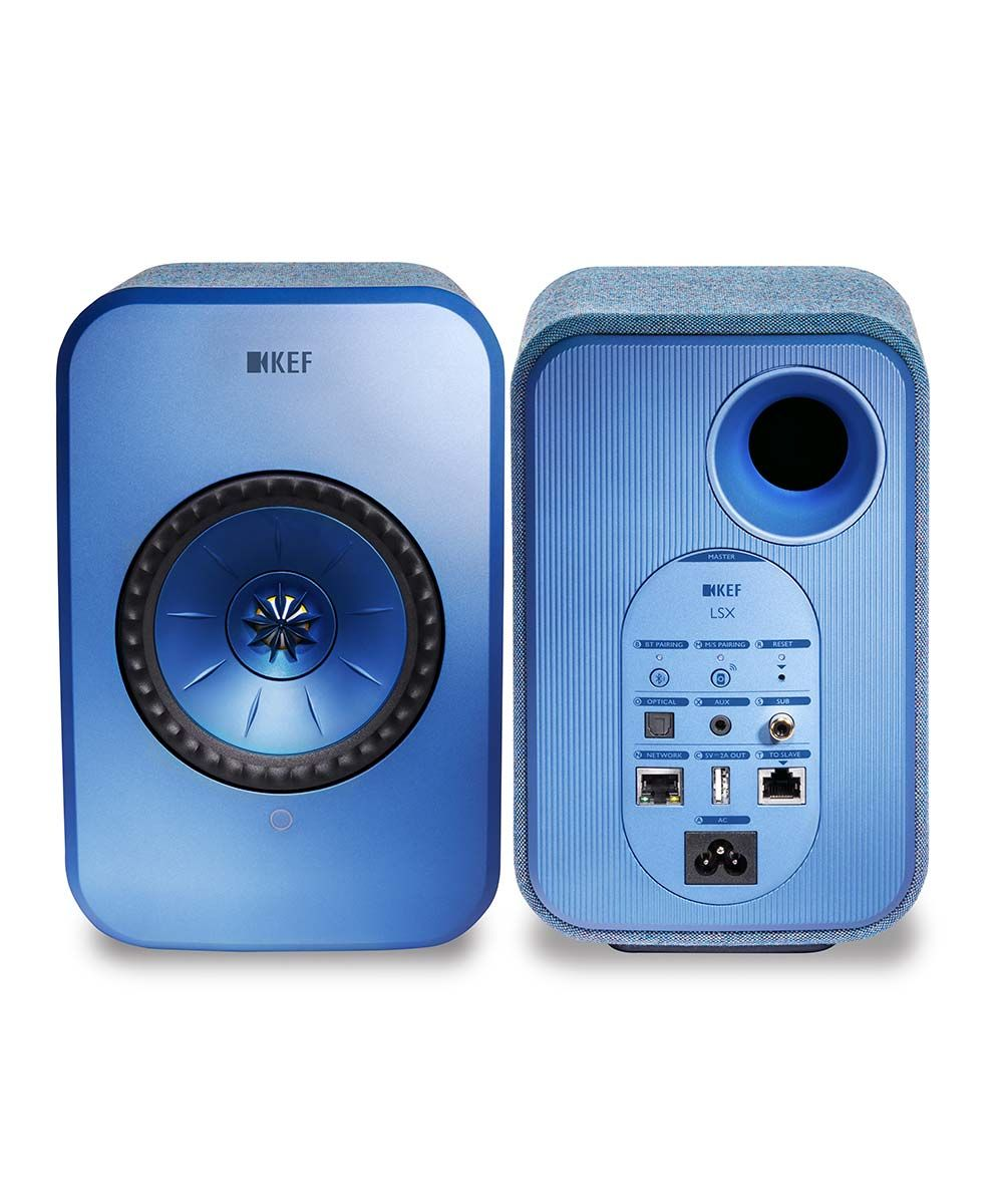 KEF LSX HiFi Desktop speaker pair in blue front and back.