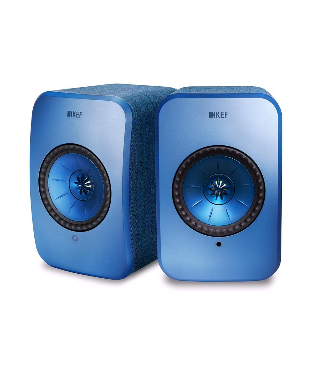 KEF LSX HiFi desktop speakers in blue, stereo pair.
