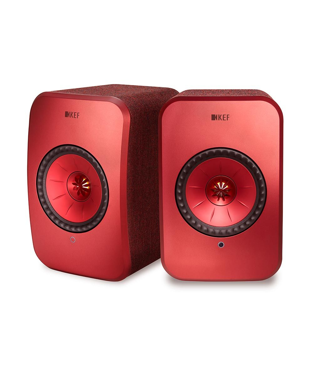 KEF LSX Wireless Stereo Speakers in Red front Pair.