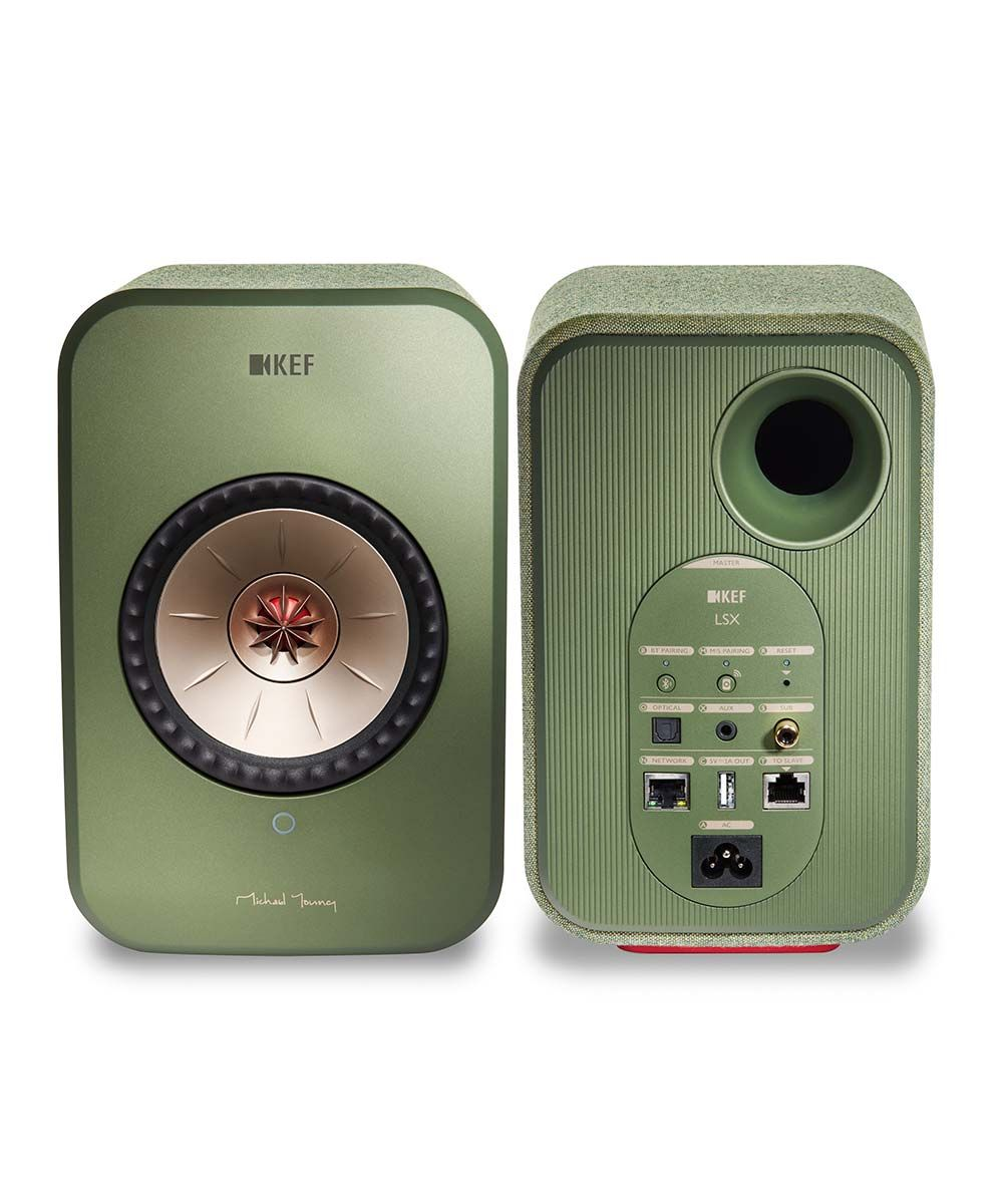 KEF LSX Wireless Desktop Speakers in green, stereo pair front and back.