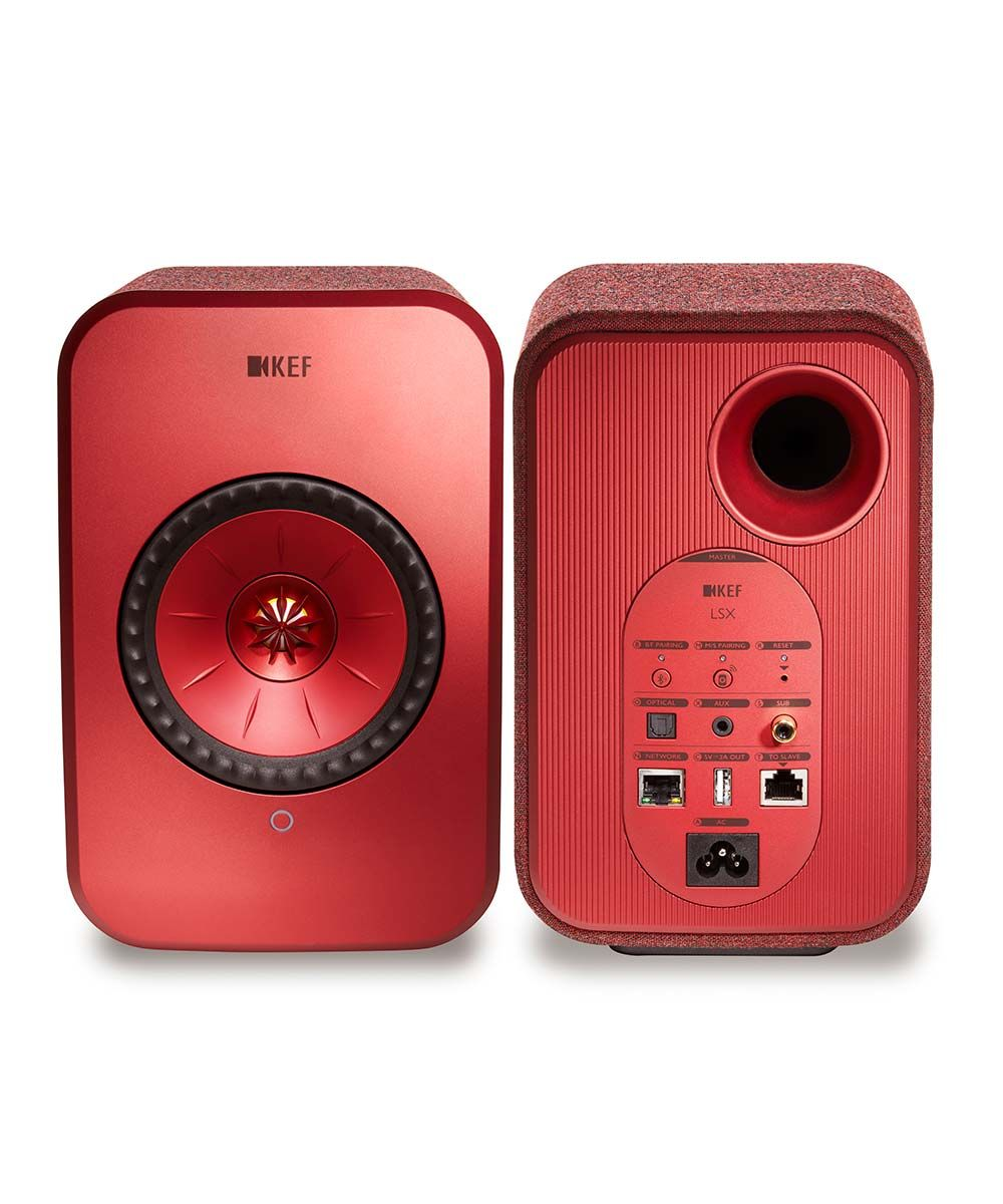 KEF LSX Wireless Desktop Speakers in red front and back.