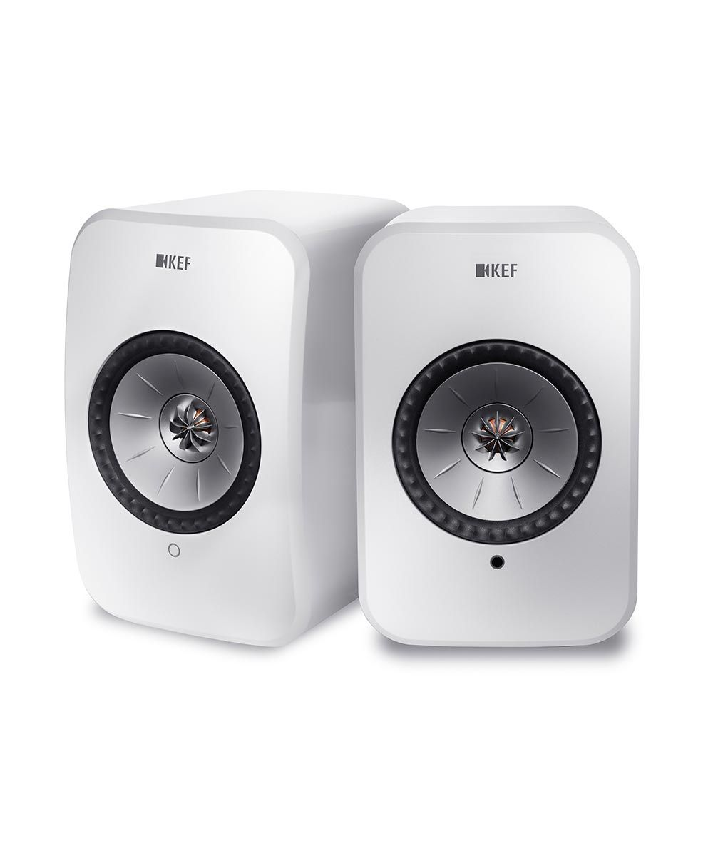 KEF LSX Best Wireless Powered Desktop speakers in gloss white.