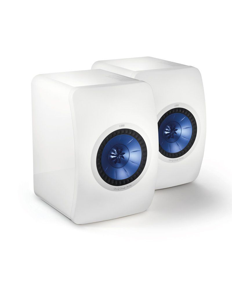 KEF LS50 White with Electric Blue Uni-Q Driver Speakers