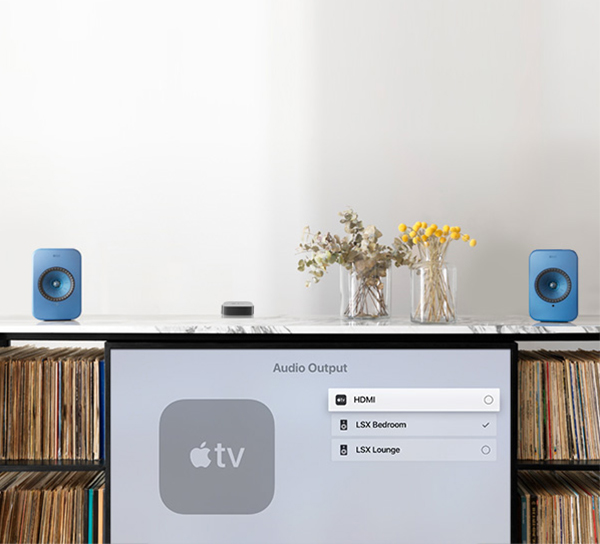 Connect your LSX Speakers to your television through the optical input or stream wirelessly from an Apple TV using Apple Airplay 2.