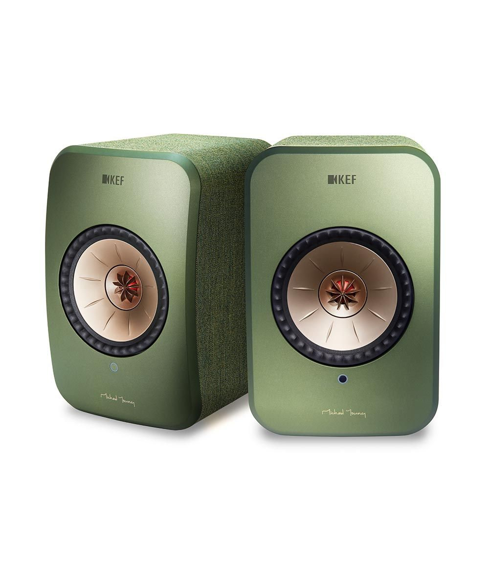 KEF LSX Wireless Desktop Speaker pair in green, front stereo.