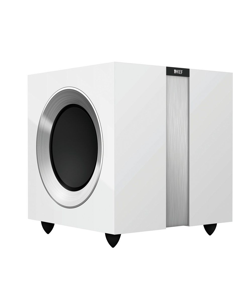 KEF R400b Subwoofer High Gloss White / Aluminium