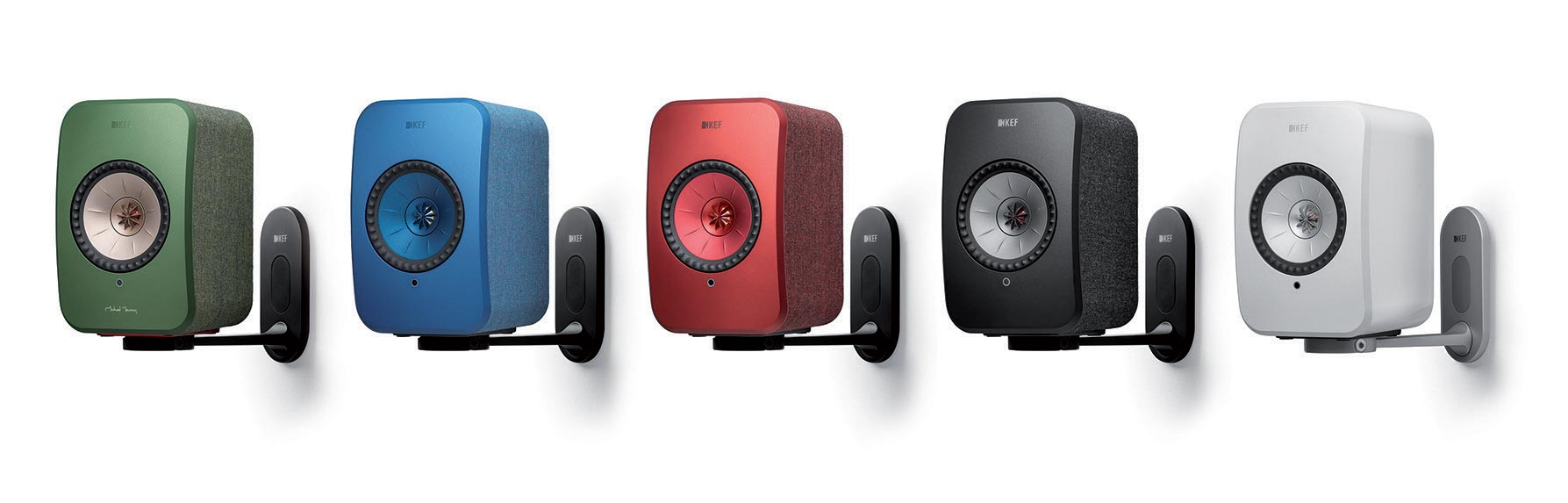 KEF LSX Wireless Speakers Wall Mount in Black and White.